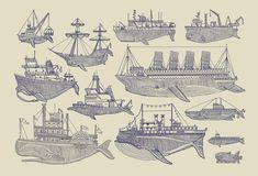 Kyler Martz — Whale Boats Screen Print