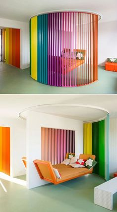 Aptly named Le rainbow et le bosquet, the renovated apartment features lush white walls and ceiling paired with colorful furnishings and details that also divide the living spaces. Rainbow Curtains, Cozy Office, Space Dividers, Stand Design, Reggio, Apartment Design, Office Interiors, Interior Design Inspiration, White Walls