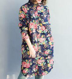 Romance long dress shirt/ light blue/ dark blue by MaLieb on Etsy