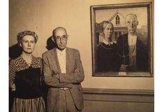 """Photo Credit: artnaz.com Subjects of the famous """"American Gothic"""" by artist Grant Wood, 1930."""