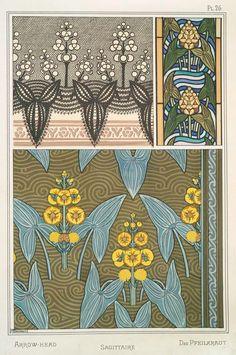 Eugène Grasset (Swiss, 1841-1917). La plante et ses applications ornementales. Arrow-head. Pl. 26. 1896.