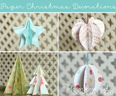 Paper Christmas decorations to make, with free templates