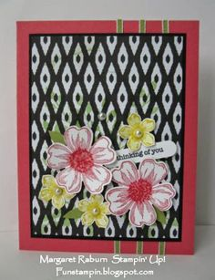 Fun Stampin' with Margaret!  Flower Shop, Petite Petals, Strawberry Slush, Black and Back to Black DSP,