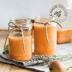 Smoothie poire carotte pêche cannelle 2 carottes 2 poires 2 pêches 1 cc de sirop d'agave 1 pincée de cannelle