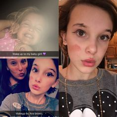 (Snapchat) Millie spending time with her sisters!!! Her little sister Ava did their makeup