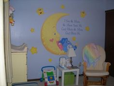 Care bear nursery mural that i really want to use for the baby's room! Bear Nursery, Baby Nursery Themes, Baby Decor, Baby Shower Themes, Girl Nursery, Nursery Ideas, Care Bear Party, Baby Information, Kids Room Murals