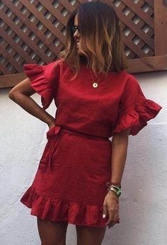 50 rote Kleidung im Trend - Fashion clothes - Mode Outfits, Dress Outfits, Fashion Dresses, Dress Up, Chic Outfits, Couture Outfits, Black Outfits, Dress Shirt, Fashion Clothes