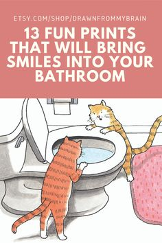 We spend a lot of time in our bathrooms, so why not add some humor to yours with this collection of funny art prints? There's a full range of bathroom humor to choose from, including whimsical prints, weird art, and funny animal drawings. Your bathroom interior will never be the same! They're also great for birthday gifts, dorm decor, and funny cubicle decor at the office. #etsy #bathroomart #bathroomdecor #bathroomdetails #toilethumor