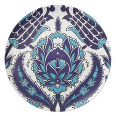 Iznik Floral Ethnic Tribal Turkish Mosaic Pottery Party Plate