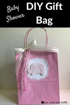 Make a Baby Shower Gift Bag Using scrapbooking paper, rubber stamps, and other card making supplies. This little pink elephant is so sweet! Card Making Supplies, Card Making Tutorials, Handmade Baby, Handmade Cards, Rubber Stamping Techniques, Baby Shower Gift Bags, Simply Stamps, Diy Baby Gifts, Pink Elephant