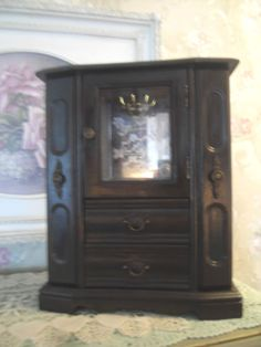 Large Dark Wooden Jewelry Box Armoire Chest With Drawers Glass Door