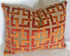 Orange Throw Pillow, Contemporary, Geometric, Luxury Pillows, Burnt Orange, Rust, Cushion Cover, Fall, Winter, Home Decor 18x18. $42.00, via Etsy.