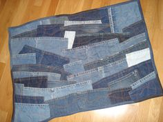 recycled denim patchwork quilted floor rug or wall by seamstofit... Inspiration!