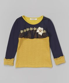 Another great find on #zulily! Navy & Yellow Daisy Overlay Tee - Toddler & Girls #zulilyfinds