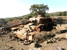 Wreck of Syrian Pzkpfw IV Ausf. J tank rusting on Golan Heights after Six Day War.