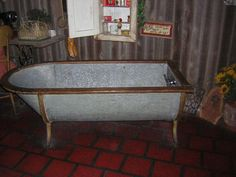 galvanized horse trough shower | Old Metal Bathtub