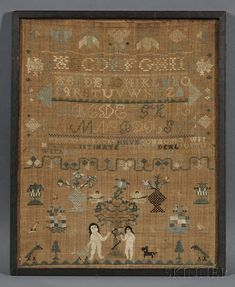 Needlework Adam and Eve Sampler, Hannah Frenchs...Aged 8 May 16 1802, probably Massachusetts