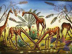 Gesner Abelard haitian art - giraffe painting