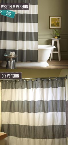 Make a nearly identical shower curtain by sewing together strips of basic cotton.Directions here.