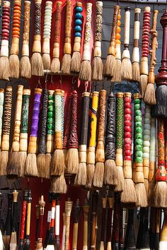 Part of Panjiayuan Market concentrates on calligraphy and many stalls have collections of many-sized brushes