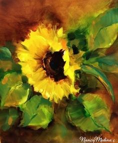 Windswept Sunflowers and a St. Louis Workshop by Nancy Medina, painting by artist Nancy Medina