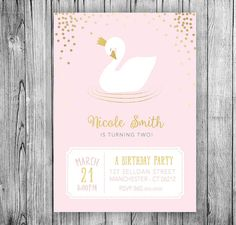 Hey, I found this really awesome Etsy listing at https://www.etsy.com/listing/501634689/swan-invitation-swan-princess-birthday