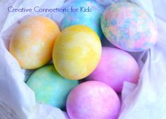 Painting Easter Eggs with Tissue Paper