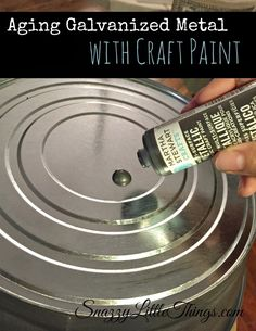 Give Galvanized Metal an aged look using craft paint -- easy and quick and no chemicals! By SnazzyLittleThings.com