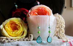 Agua Azul Earrings flea market shabby wedding by Scentedlingerie @ Etsy