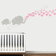 Amazon.com: Cutie Grey Elephants with Colored Bubble Hearts Vinyl Wall Decal Sticker Baby, Nursery, Play Room (Soft Pink Hearts): Baby