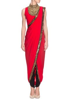 Roshni Chopra -   Red embroidered draped sari with blouse