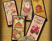 FRENCH PASTRY DOMINOS 1x2 inch images digital collage sheet  - Printable Download - domino pendants - magnets - paper craft supply