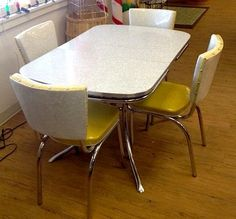 Vintage Kitchen Game Poker Table 4 Chairs Playdine Chrome Cracked