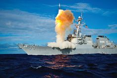 Arleigh Burke–class guided missile destroyer USS Hopper (DDG 70), equipped with Aegis integrated weapons system, launches RIM-161 Standard Missile DOD