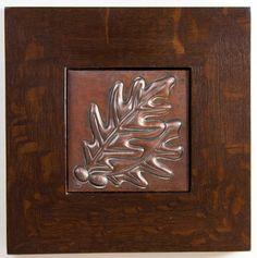 Framed Arts and Crafts Oak Leaves and Acorns Hammered Copper Tile | eBay