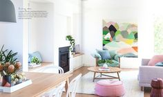Looking through the living room at the stunning Hamptons house in the latest issue of online now! Love this light fresh space and all the lovely things in it. Routine, Tidy Room, Interior Styling, Interior Design, Interior Decorating, Color Collage, Australian Architecture, Home Organisation, Hamptons House