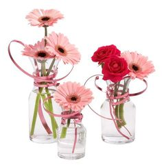 Pink OASIS Flat Wire added to Decanter Vases creates an energetic arrangement perfect for a Baby Shower or Birthday. (oasis for flowers) Centerpiece Decorations, Vases Decor, Art Decor, Wedding Decorations, Deco Floral, Floral Foam, Floral Design, Fleur Design, Crepe Paper Flowers
