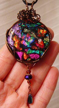 vintage bronze wirewrap fused dichroic glass drop pendant