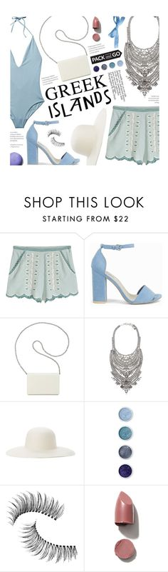 """""""Pack and Go: Greek Islands"""" by federica-m ❤ liked on Polyvore featuring ONIA, Nly Shoes, Nine West, DYLANLEX, Ace of Something, Terre Mère, Trish McEvoy, white, serenity and Packandgo"""