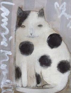 Gato gordo blanco y negro
