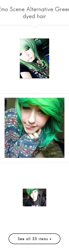 """Emo Scene Alternative Green dyed hair"" by shelbybauer ❤ liked on Polyvore featuring people, hair, girls, accessories, hair accessories, photos, boys, site models, green hair and scene hair"