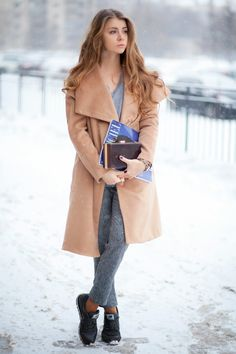 Gray trousers black shoes purse camel coat. Winter street clothing women apparel @roressclothes closet ideas style ladies outfit fashion