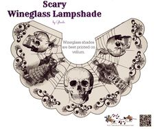 Free-printable Spooky Halloween Wineglass lampshades