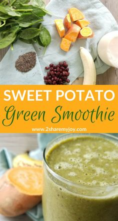 green sweet potato smoothie with banana spinach chia seeds almond milk and beans. High potassium calcium fiber and omega Sweet Potato Smoothie, Raw Sweet Potato, Fruit Smoothies, Healthy Smoothies, Vegetable Smoothies, Smoothie Detox, Healthy Detox, Smoothie Bowl, Healthy Drinks