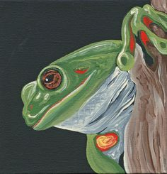 Green Frog Wildlife Original Canvas Magnet Canvas Painting -Carla Smale #Miniature