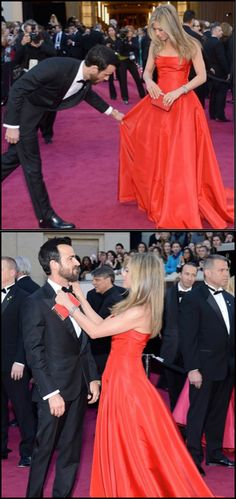Jennifer Aniston and Justin Theroux. Could these two be any more adorable? #Oscars2013
