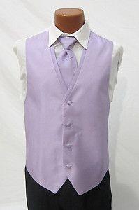 Mens Lilac Light Purple Diamond Tuxedo Fullback Vest Tie Prom Wedding x Large | eBay