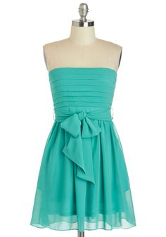 Ally McTeal Dress - Short, Blue, Solid, Belted, Wedding, Party, A-line, Strapless, Pleats, Prom