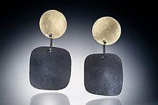 """Zor Earring by Nina Mann (Gold & Steel Earrings) (2"""" x 1"""")"""
