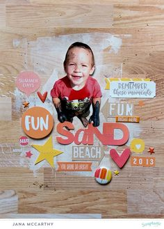 """sand beach fun"" Layout by Jana Maiwald-McCarthy using the June 2016 Scraptastic Club Kit ""wipe out"" and the AddOn"
